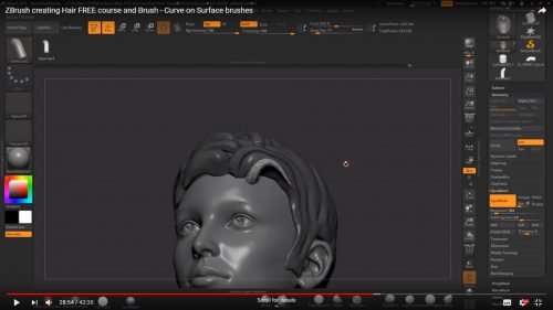 ZBrush creating Hair FREE Course and Brush – Curve on Surface Brushes