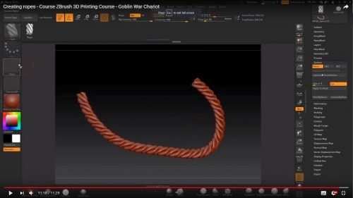 Creating ropes – Course ZBrush 3D Printing Course