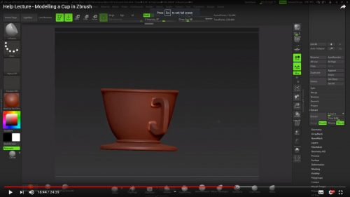 Modelling a Cup in ZBrush